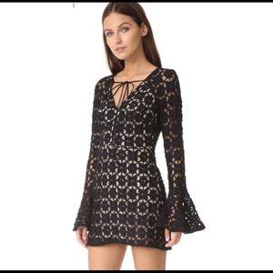 Free People sheer black lace bell sleeve dress